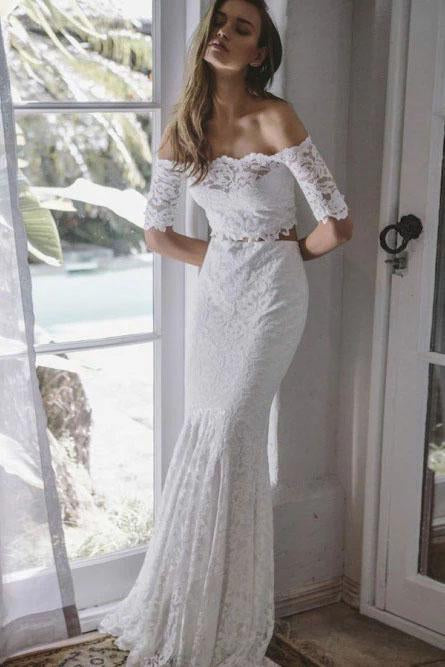 2 Pieces Ivory Lace Mermaid Off the Shoulder Wedding Dresses, Beach Wedding Gowns SWK14986