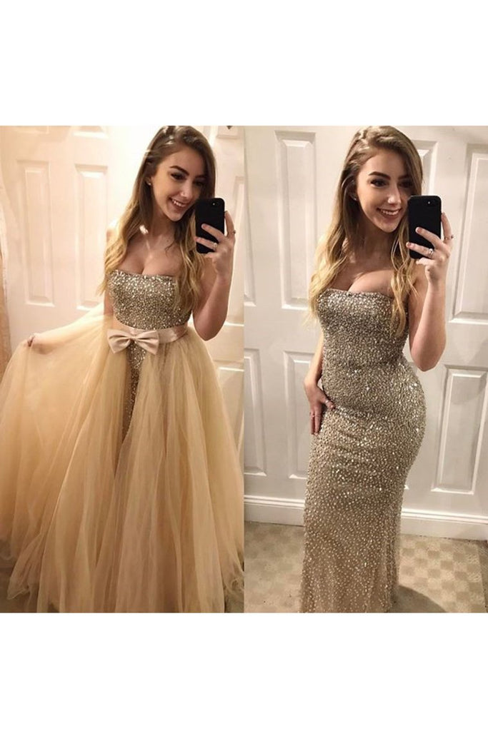 2019 Tulle Strapless Beaded Bodice Prom Dresses Mermaid Sweep Train Detachable