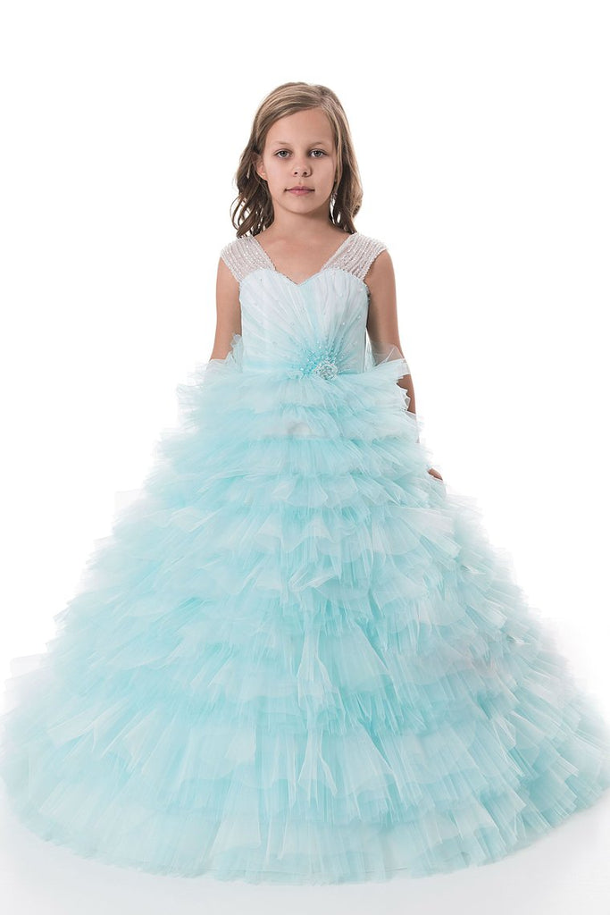 2019 Tulle V Neck With Beading Flower Girl Dresses A Line Sweep Train