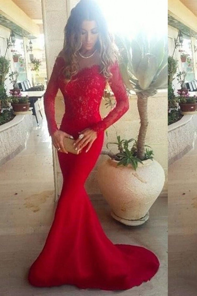 2019 Prom Dresses Mermaid/Trumpet Spandex With Applique Sweep Train Red