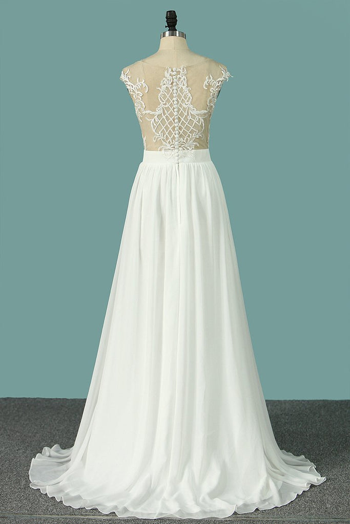 2019 Chiffon Wedding Dresses Scoop Cap Sleeves With Applique And Slit