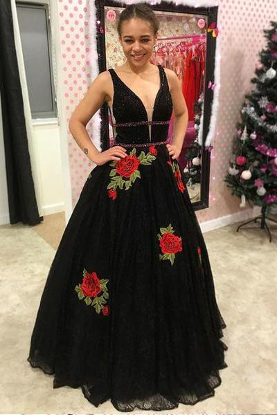 A Line V Neck Straps Lace Black Prom Dresses Backless Cheap Party Dresses WK698