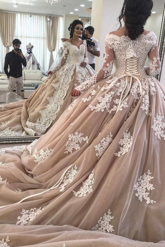 2019 Off The Shoulder Long Sleeves Ball Gown Wedding Dresses Tulle With Applique