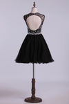 Scoop Beaded Bodice A Line Prom Dress Short With Tulle Skirt