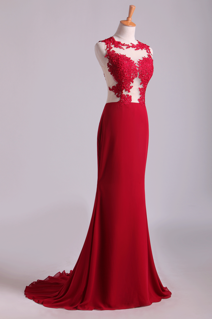 Scoop Mermaid Wedding/Prom Dresses With Applique Chiffon