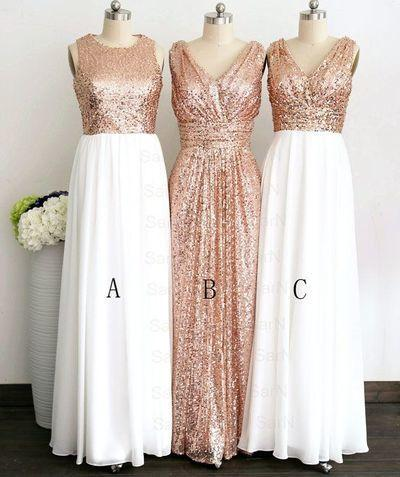 Gold Sequin Off-the-Shoulder Short A-Line White Cheap Modest Bridesmaid Dresses WK49
