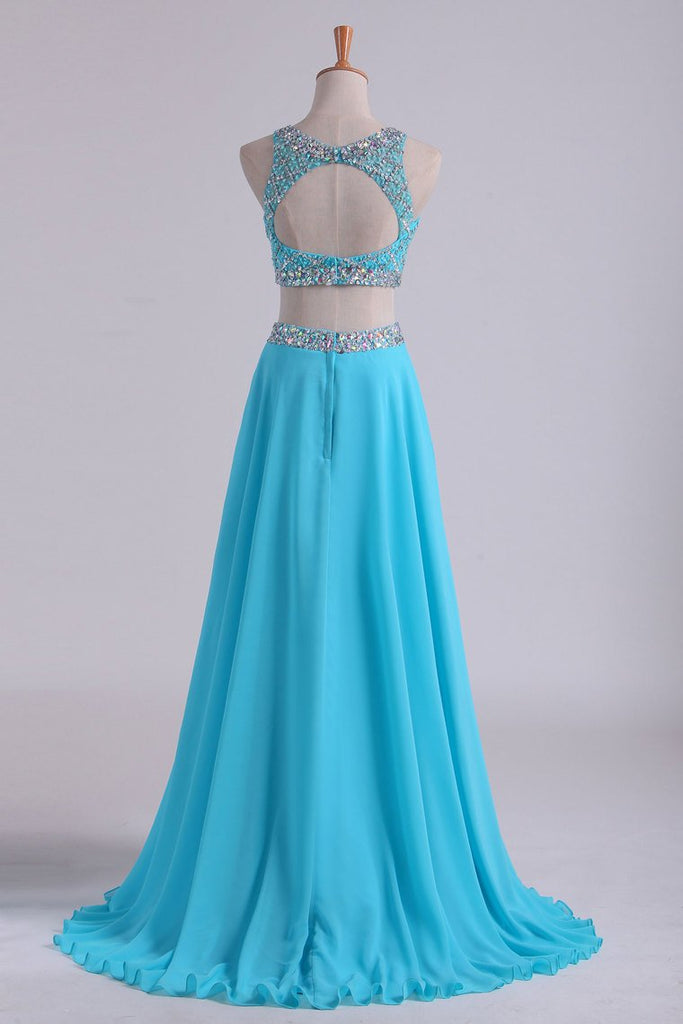 Bateau Two Pieces Prom Dresses A Line Beaded Bodice Open Back Floor Length Chiffon & Tulle