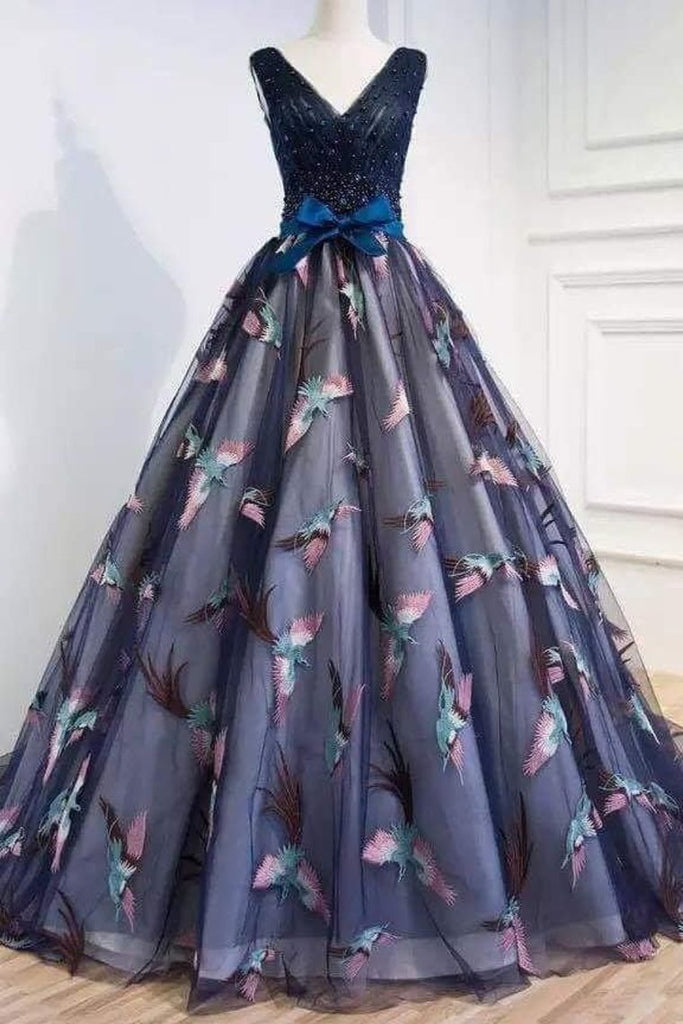 2019 V Neck Lace Prom Dresses  A Line With Sash And Beads Sweep Train