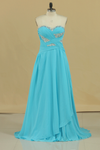 2019 Prom Dresses A Line Sweetheart Chiffon With Beads And Ruffles