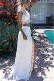 2 Pieces High Neck Long White Lace Chiffon Elegant Prom Dresses