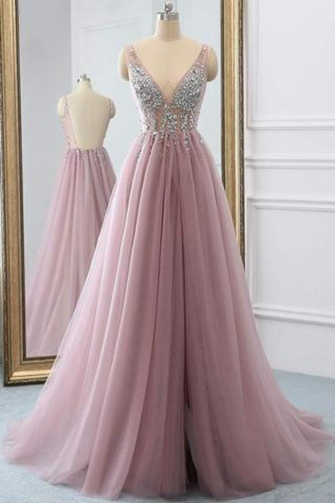 2019 Tulle Beading A-Line V-Neck  Prom Dresses WIth Sweep Train