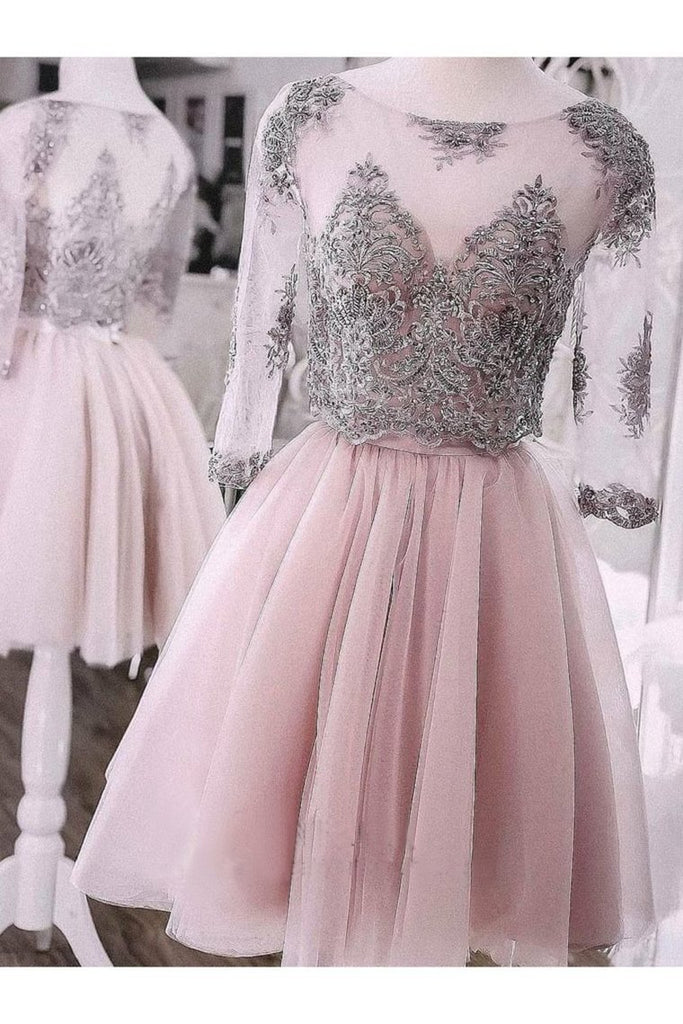 Two Pieces Short Prom Dress Cute Lace Homecoming Dress Tulle Cocktail Dresses