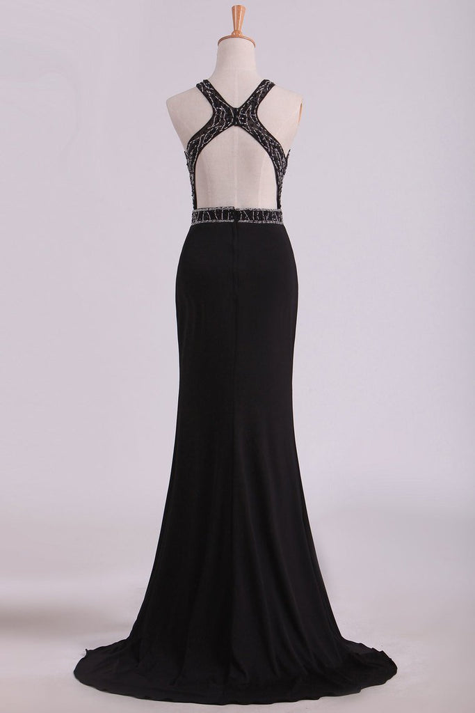 2019 Black Open Back Prom Dresses Scoop Spandex With Beading & Slit Sweep Train