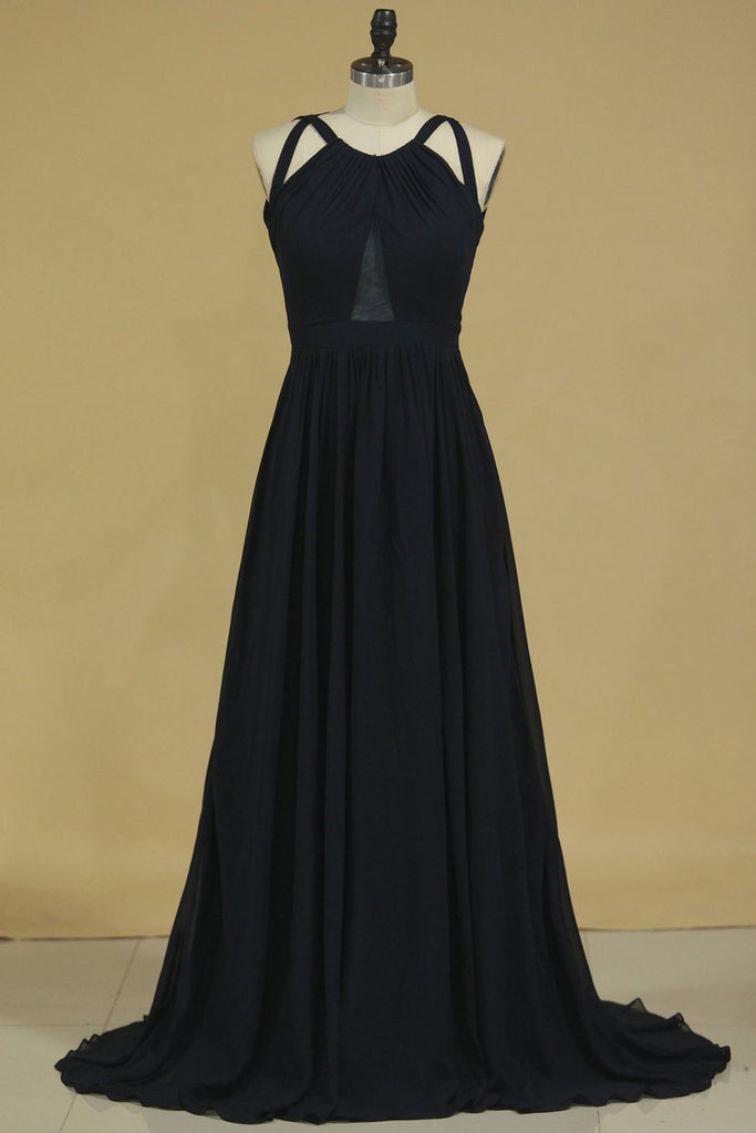 2019 Bridesmaid Dresses Scoop A Line Chiffon With Slit Open Back