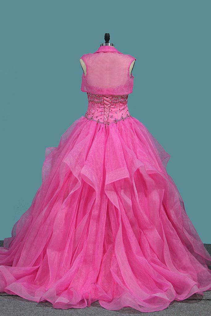 2019 Organza Sweetheart Ball Gown Quinceanera Dresses With Beading