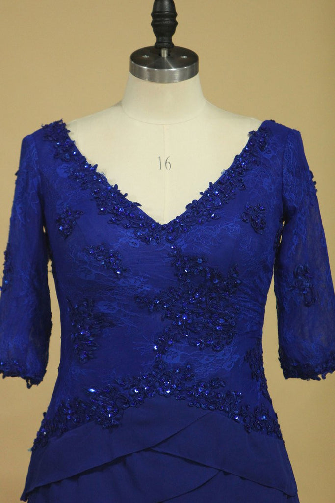 Dark Royal Blue Mother Of The Bride Dresses Chiffon V Neck With 3/4 Length Sleeves