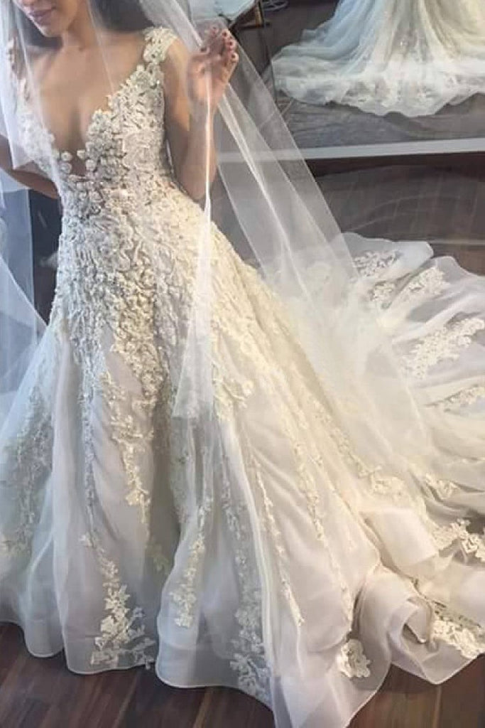 2019 New Arrival V Neck Tulle With Applique Court Train Wedding Dresses