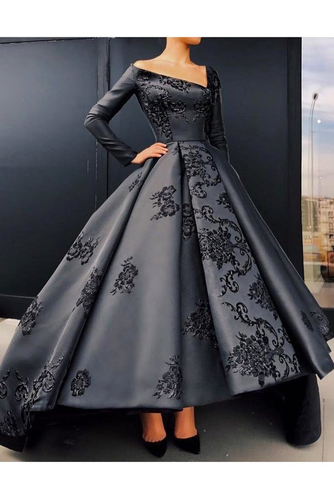 2020 A Line Long Sleeves Satin Prom Dresses With Applique Asymmetrical