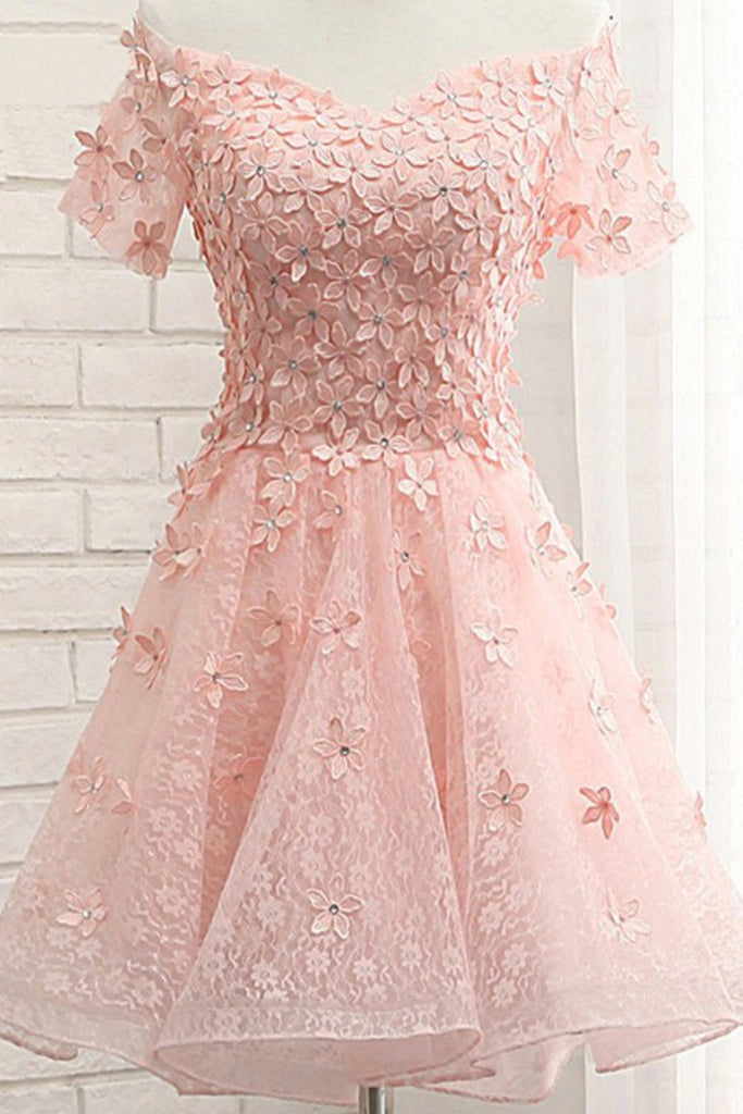 A Line Short Sleeves Lace With Handmade Flowers Homecoming Dresses