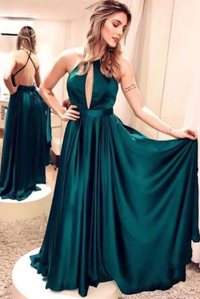 2019 Evening Dresses Spaghetti Straps Open Back Elastic Satin A Line
