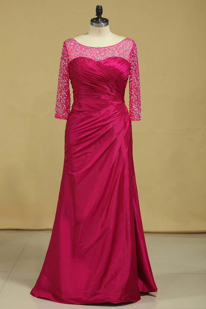 Plus Size Scoop Mother Of The Bride Dresses Long Sleeves Taffeta With Beads And Ruffles Fuchsia