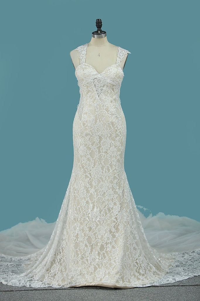Spaghetti Straps Lace Mermaid Wedding Dresses With Beads Court Train