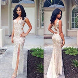 Beaded Rhinestone Mermaid Long Open Back Sleeveless with Slit Prom Dresses WK951