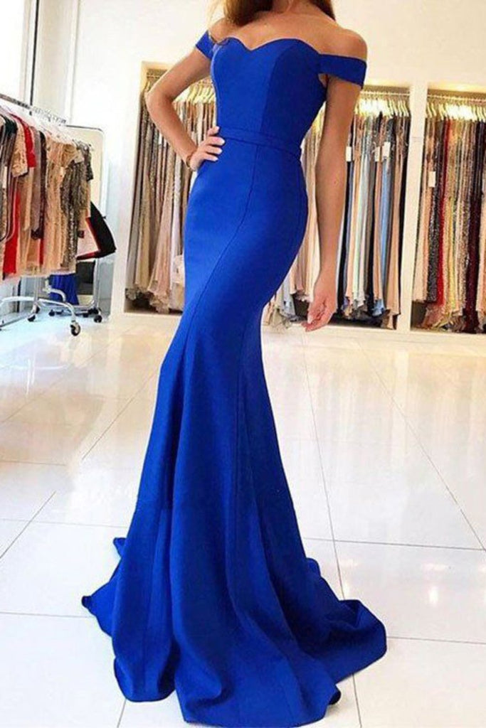 2019 Evening Dresses Mermaid Off The Shoulder Spandex Sweep Train