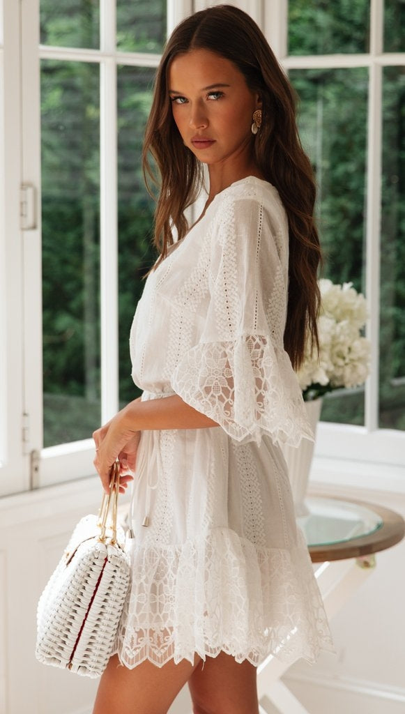 A Line Long Sleeve White Simple Lace Short Sexy Criss Cross Above Knee Homecoming Dress WK783