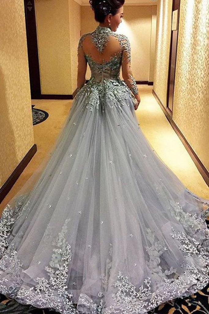 2019 A Line Prom Dresses High Neck Long Sleeves Tulle With Applique Court Train