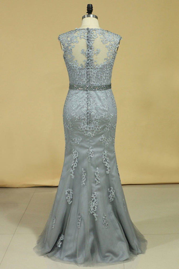 Mermaid Beaded Waistband Evening Dresses With Applique Tulle