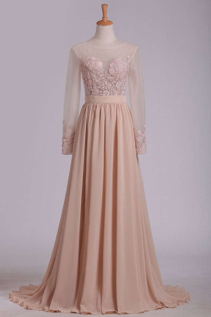 Long Sleeves Evening Dresses Scoop A Line With Applique And Slit Chiffon