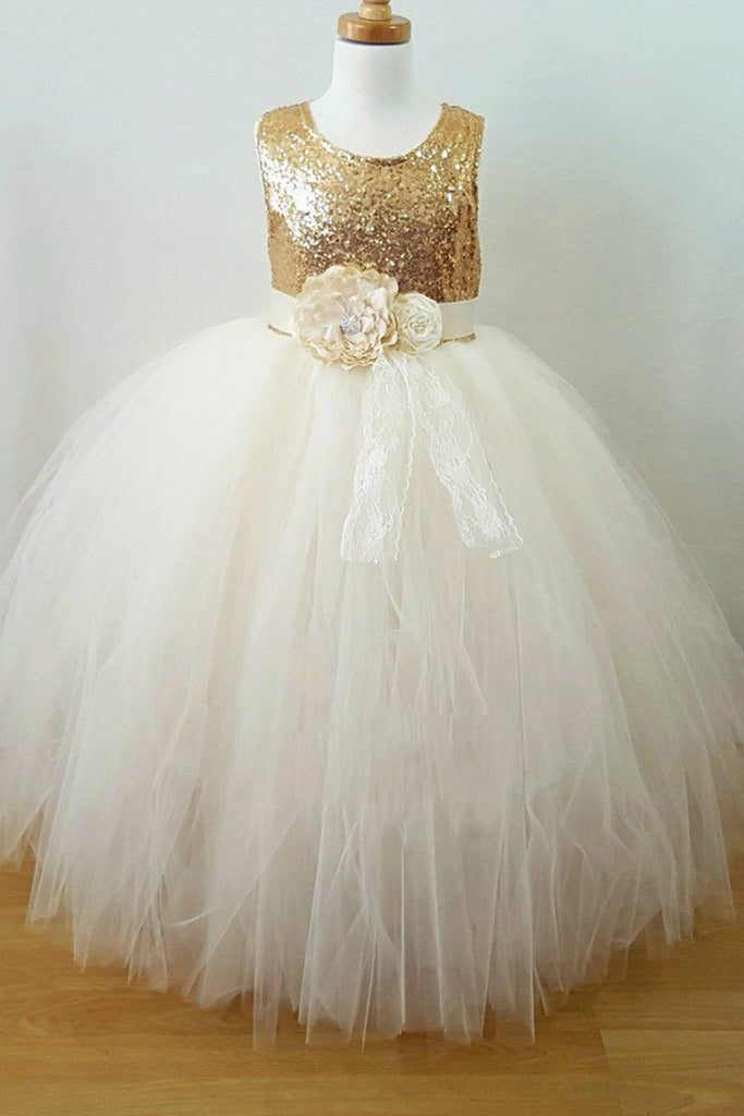 2019 Flower Girl Dresses A Line Scoop Tulle & Sequin With Sash