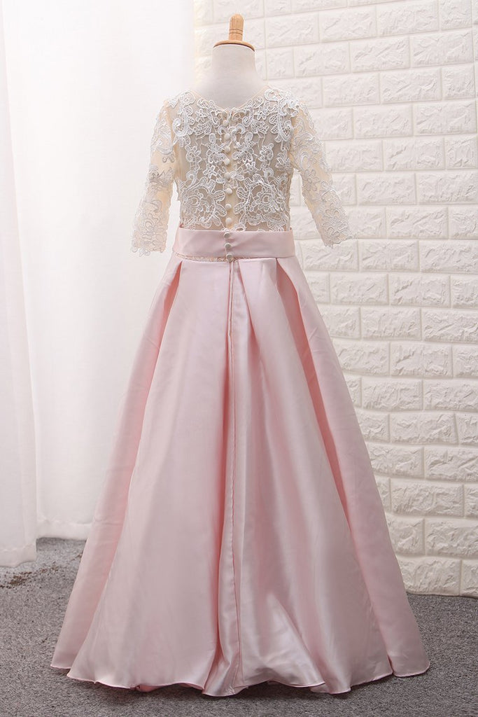 2019 Scoop Mid-Length Sleeve Satin A Line Flower Girl Dresses With Applique Floor-Length
