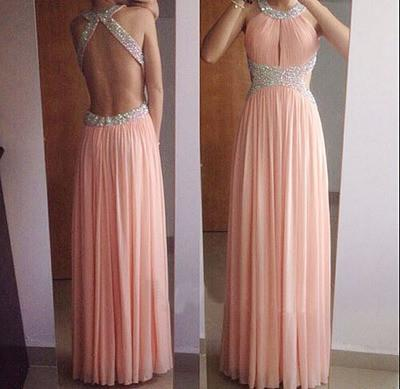 A-Line Backless Blush Pink Sleeveless Beads Halter Long Sexy Chiffon Prom Dresses WK1613
