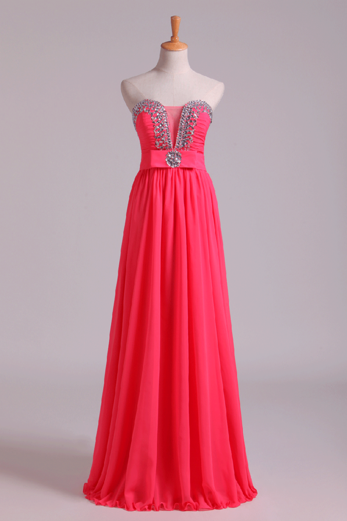 2019 Prom Dresses Sweetheart A Line Chiffon With Ruffles Floor Length
