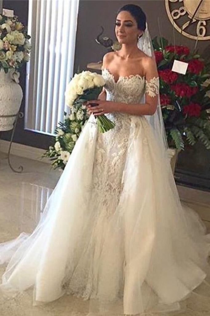2019 Mermaid Off The Shoulder Tulle With Applique Wedding Dresses Court Train Detachable