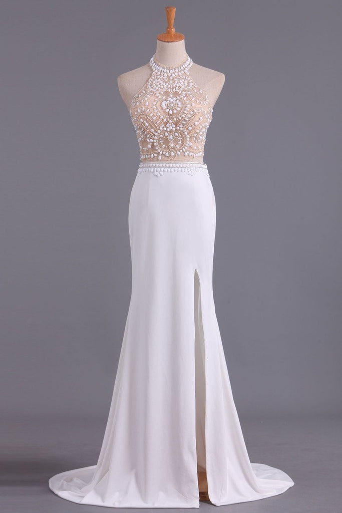 See-Through High Neck Two Pieces Prom Dresses Spandex With Slit And Beading