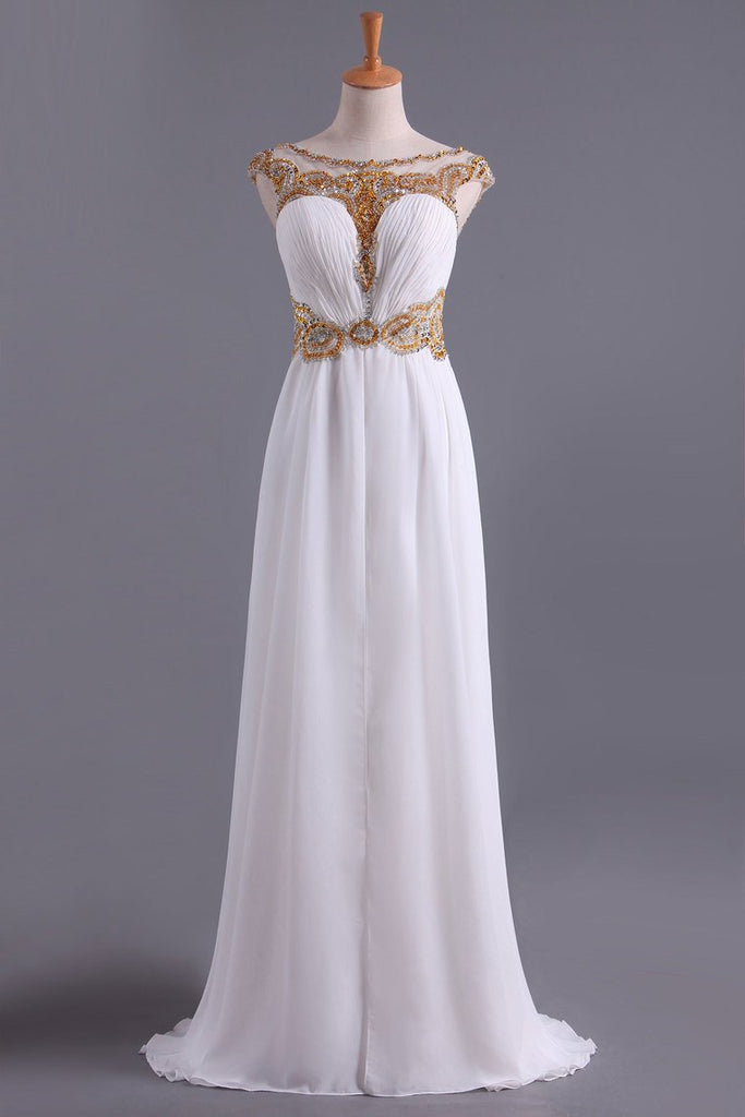 2019 White A Line Prom Dresses Bateau Open Back Chiffon With Beads & Ruffles Sweep Train