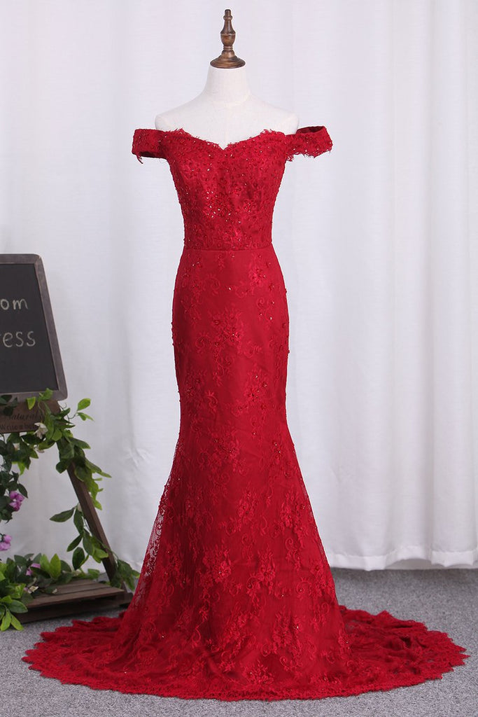 2019 Off The Shoulder Lace Mermaid Prom Dresses With Beads And Sash
