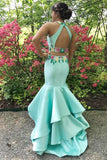 Elegant 2 Pieces Sheath Mermaid Mint Open Back Long Prom Dresses