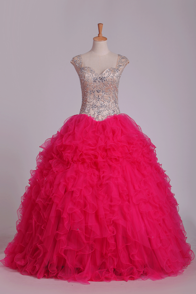 Ball Gown Straps With Beading Quinceanera Dresses Tulle Floor Length