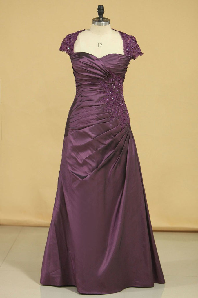 2020 A Line Mother Of The Bride Dresses Taffeta With Applique Floor Length