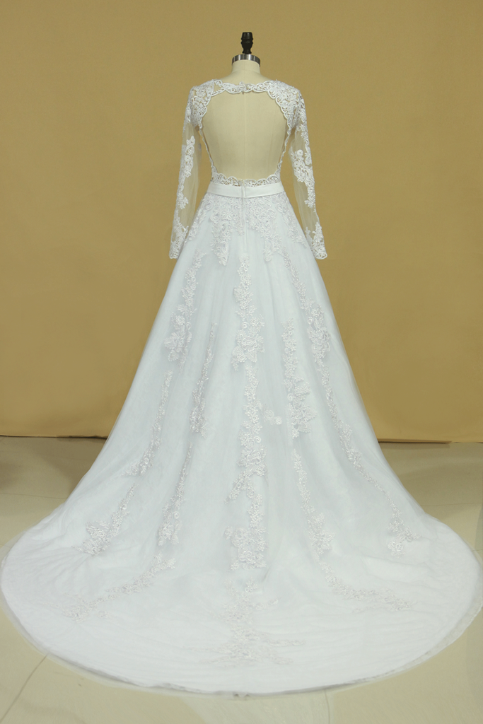 2019 Hot Wedding Dresses Scoop Long Sleeves With Applique & Sash Tulle