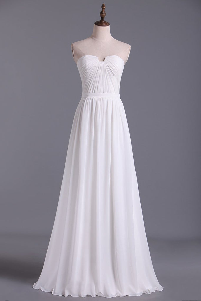 Chic Prom Dresses Long A Line Strapless Chiffon Ivory Color Petite Size Under 200