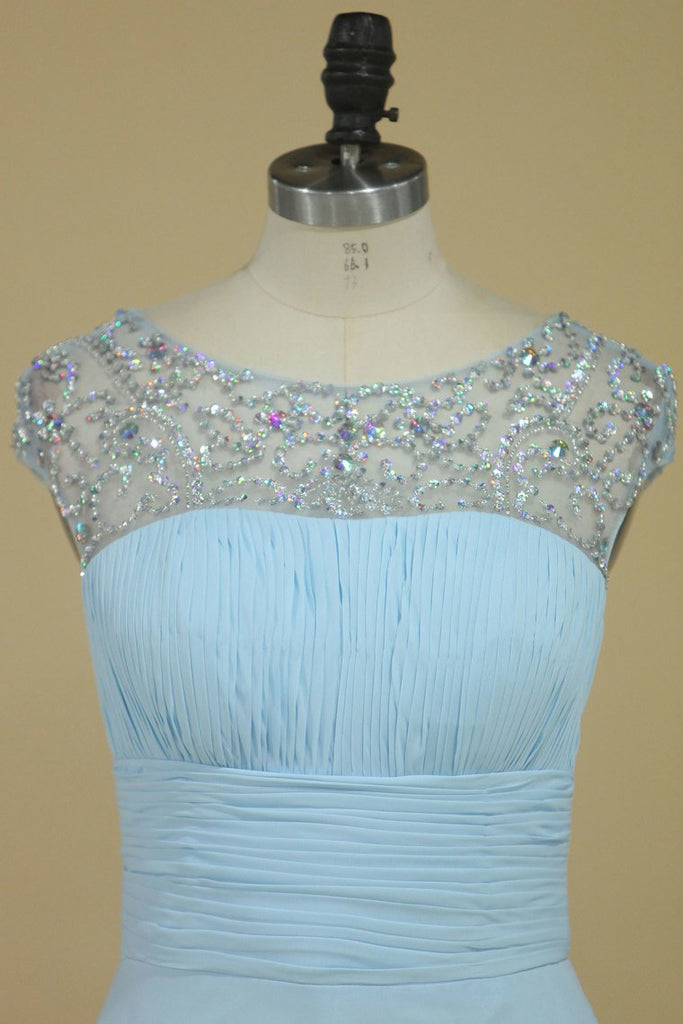 2019 A Line Prom Dresses Scoop Chiffon With Ruffles And Beads