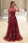 A-Line Bateau Burgundy Floral Lace Long Prom Dresses, Straps Party Dresses PW734