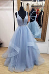 A-Line Blue Deep V Neck Tulle Prom Dresses Long Cheap Open Back Evening Dresses PW627