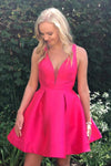 A-Line Deep V-Neck Criss-Cross Fuchsia Satin Homecoming Dress Cocktail Dresses H1293