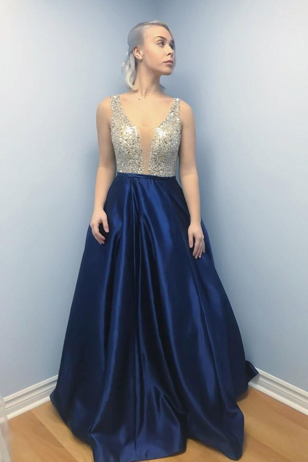 A-Line V Neck Backless Sweep Train Dark Blue Satin Prom Dress with Beads WK631